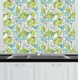 "Foliage Kitchen Curtains 2 Panel Set Window Drapes 55"" X 39"""