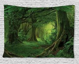 Forest Decor Tapestry by Ambesonne, Enchanted Woodland Folia