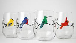 Four Birds Stemless Wine Glasses - Set of 4 Glasses with Hum
