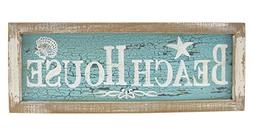 Framed Beach House Painted Wood Wall Plaque 15 Inch Distress