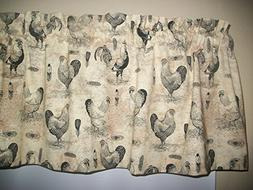 French Country Rooster Chicken farm kitchen Tan fabric curta