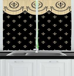 Ambesonne French Kitchen Curtains, Pattern of Fleur de Lis A