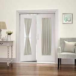 FlamingoP French Door Curtains,Solid Blackout Rod Pocket, Si