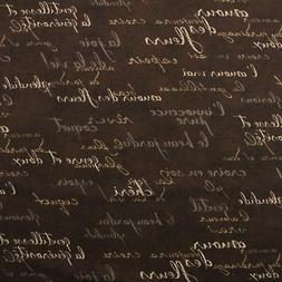 WAVERLY FRENCH SCRIPT BROWN DESIGNER COTTON MULTIPURPOSE FAB