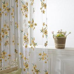 Norbi Fresh Floral Print Tulle Voile Door Window Rom Curtain