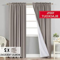 Flamingo P Full Blackout Taupe Curtains with White Liner The