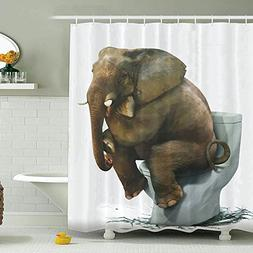 Funny Elephant Shower Curtain, Wimaha Printed Polyester Fabr