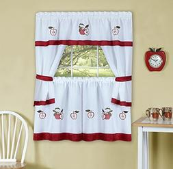 "Gala Embellished Cottage Kitchen Curtain Set w/ ""Red Apples"""