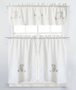 Garden Butterfly Embroidered Kitchen Curtain and Valance Set