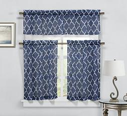 Geo Trellis 3 PC Faux Linen Kitchen Curtain Tier & Valance S