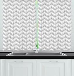 Geometric Decor Kitchen Curtains by Ambesonne, Simple Zig Za