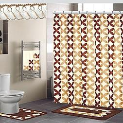 BH Home & Linen 18 Piece Geometric Designs Banded Shower Cur