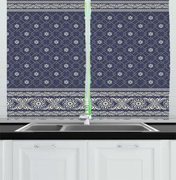 Ambesonne Geometric Kitchen Curtains, Pattern With Flowers T