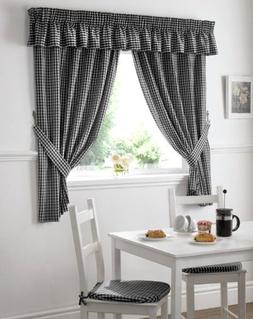 GINGHAM CHECK BLACK WHITE KITCHEN CURTAINS DRAPES W46 X L42