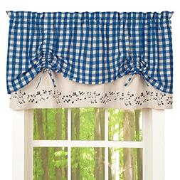 Gingham Checkered Berries Rod Pocket Window Valance, Blue