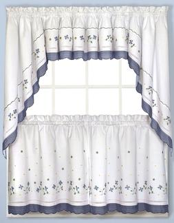 Gingham Floral Kitchen Curtain Collection - Blue NEW !