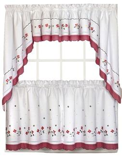 Gingham Floral Kitchen Curtain Collection - Red -NEW !
