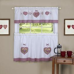 Gingham Hearts Embellished Tier and Valance Set, Red, 56x36