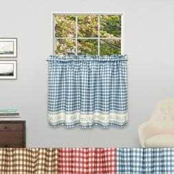 Gingham Stitch Live Laugh Love Kitchen Curtain Tier Pair 36""