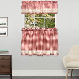 Gingham Stitch Live Laugh Love Kitchen Curtain Tier Pair or