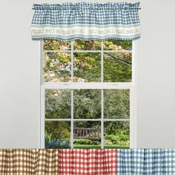 "Gingham Stitch Live Laugh Love Kitchen Curtain Valance 12""x5"
