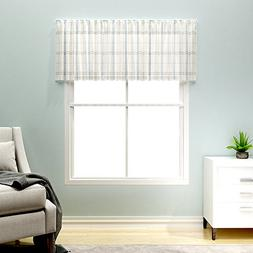 Gingham Valances Window Treatments, Blue and Taupe Checkered