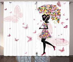 Ambesonne Girly Decor Curtains, Girl with Floral Umbrella an