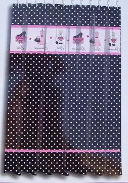 Glamour Girl Black & White Polka Dot Fabric Shower Curtain W