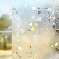Rabbitgoo No Glue Static Cling Privacy Glass 3D Frosted Leaf