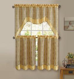 Gold 3-Pc Kitchen Window Curtain Set: Double-Layer, 2 Tiers,