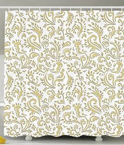 Ambesonne Gold Shower Curtain Cottage Decor by, Paisley Flor