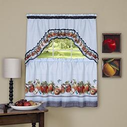 Golden Delicious Apples 3 Piece Kitchen Curtain Set With Swa