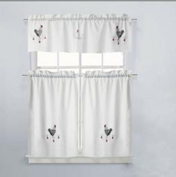 Good Morning Embroidered Kitchen Curtain and Valance Set, Mu