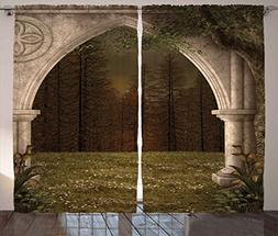 Ambesonne Gothic Decor Curtains, Old Retro Arch in Garden Re