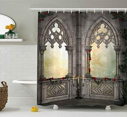 Ambesonne Gothic Decor Shower Curtain, Vintage Ottoman Palac