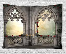 gothic decor tapestry flowers ivy