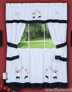 gourmet chef black and white embellished curtains