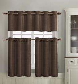 VCNY Home Grant Textured Kitchen Curtain Tier & Valance Set