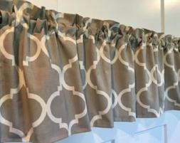 Gray and White Geometric Curtain Valance