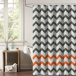 NYMB Gray Orange Chevron Zigzag Pattern Bath Curtains, 100%