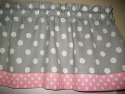 Gray Pink Polka Dot nursery bedroom kitchen fabric window to