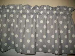 Gray Polka Dot Country Farm kitchen fabric curtain topper Va