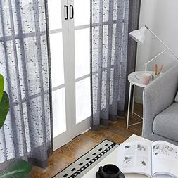 Grey Sheer Curtains for Living Room Linen Textured 95 inch R