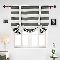 Deconovo Gray Striped Blackout Window Curtains Thermal Insul
