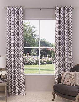 Pepper Lane Home Gray and White Trellis Patterned Single Win