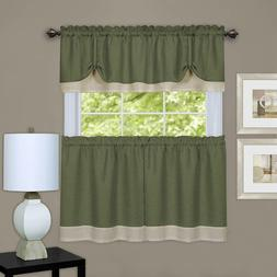 Achim Home Furnishings, Green & Camel Darcy Window Curtain T