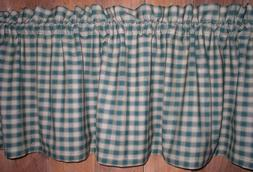 Green and Tan Checked Plaid Homespun Valance Primitive Count