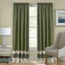 Green/Beige Modern Two-Tone Window Curtains Panel Tiers Kitc