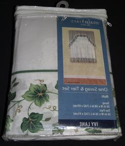 """Green Ivy Vine Leaves Window Curtains - 36"""" Tiers and Swag V"""