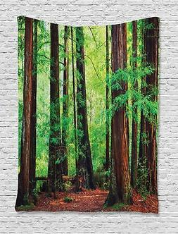 Ambesonne Green Tapestry Tree Woodland Decor by, Redwood Tre